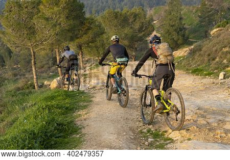 Three Men Riding Bicycles On A Forest Path Near Jerusalem, Israel.