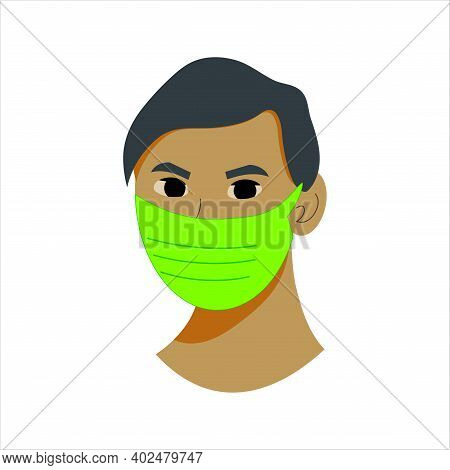 Green Face Medical Mask, Protection Wear From Coronavirus, Air Pollution, Dust, Sign For Medical Equ