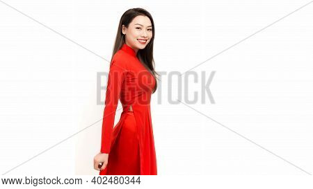 Portrait Of Asian Girls With Ao Dai, Vietnam Traditional Dress, Ao Dai Is Famous Traditional Costume