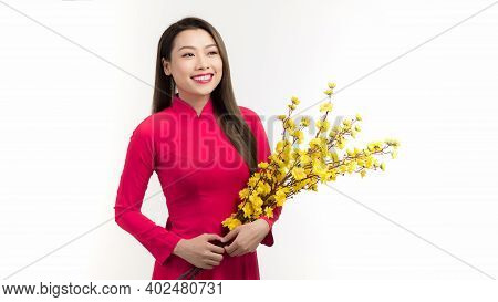 Young Asian Beauty Woman Wearing Ao Dai And Holding Ochna Integerrima Branch With Flower In Lunar Ne