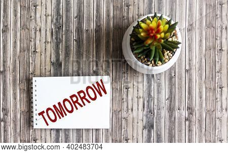 On A Wooden Table There Is A Cactus And A Notebook With The Inscription Tomorrow