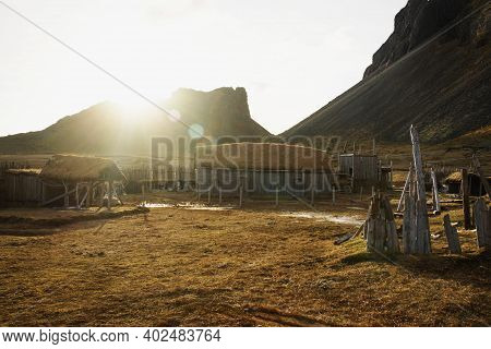 Traditional Authenic Viking Village Replica Movie Set Film Location In Hofn Stokksnes Vestrahorn Sou