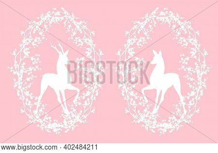 Standing Deer And Doe Inside Blooming Wreath Of Sakura Tree Branches - Springtime Editable Vector Si