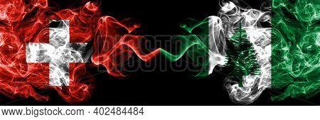 Switzerland, Swiss Vs Australia, Australian, Norfolk Island Smoky Mystic Flags Placed Side By Side.