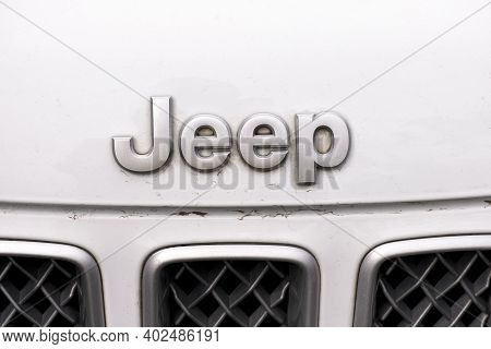 Tambov, Russian Federation - June 12, 2020 Logo Jeep On White Car. Close-up