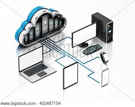 Smart Devices Connected To The Cloud Shaped Servers. Cloud Computing Diagram. 3d Illustration.