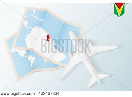 Travel To Guyana, Top View Airplane With Map And Flag Of Guyana. Travel And Tourism Banner Design.