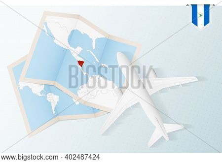Travel To Nicaragua, Top View Airplane With Map And Flag Of Nicaragua. Travel And Tourism Banner Des