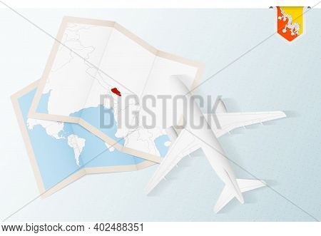 Travel To Bhutan, Top View Airplane With Map And Flag Of Bhutan. Travel And Tourism Banner Design.
