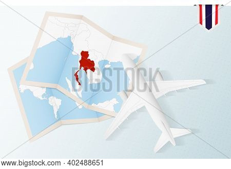 Travel To Thailand, Top View Airplane With Map And Flag Of Thailand. Travel And Tourism Banner Desig