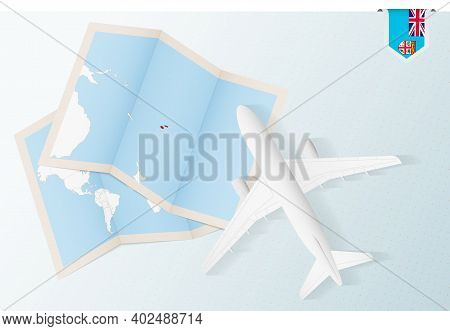 Travel To Fiji, Top View Airplane With Map And Flag Of Fiji. Travel And Tourism Banner Design.