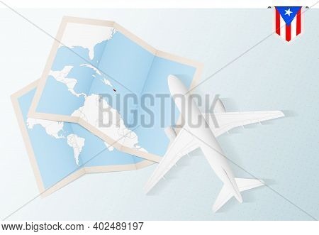 Travel To Puerto Rico, Top View Airplane With Map And Flag Of Puerto Rico. Travel And Tourism Banner