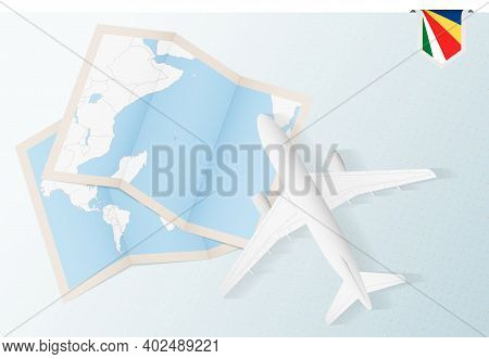 Travel To Seychelles, Top View Airplane With Map And Flag Of Seychelles. Travel And Tourism Banner D