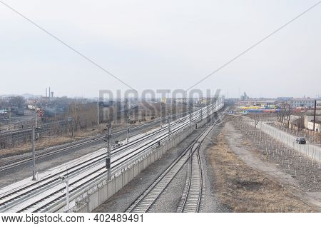 Train Tracks For The High Speed Train System In The City Of Zhaodong China In Heilongjiang Province