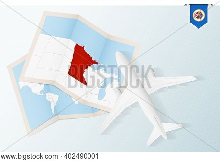 Travel To Minnesota, Top View Airplane With Map And Flag Of Minnesota. Travel And Tourism Banner Des