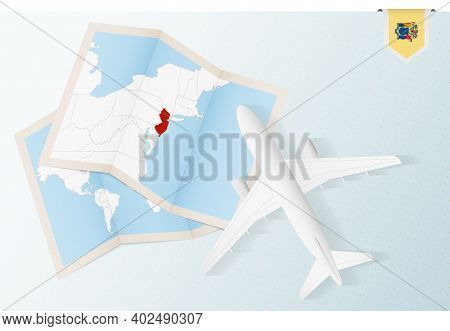 Travel To New Jersey, Top View Airplane With Map And Flag Of New Jersey. Travel And Tourism Banner D