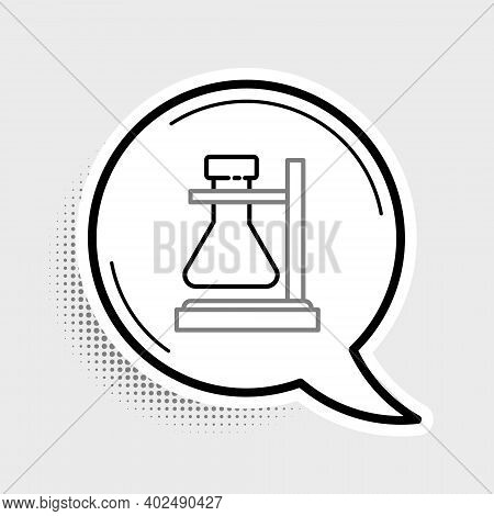 Line Glass Test Tube Flask On Stand Icon Isolated On Grey Background. Laboratory Equipment. Colorful