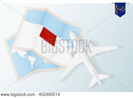 Travel To North Dakota, Top View Airplane With Map And Flag Of North Dakota. Travel And Tourism Bann