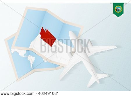 Travel To Washington, Top View Airplane With Map And Flag Of Washington. Travel And Tourism Banner D
