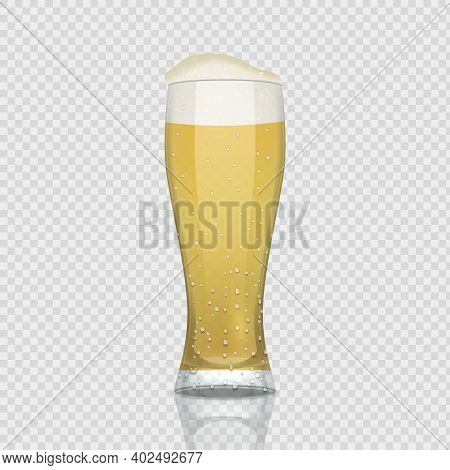 Beer Glass. Realistic 3d Cup With Foam Alcohol Drink. Isolated Pint Of Refreshing Beverage On Transp