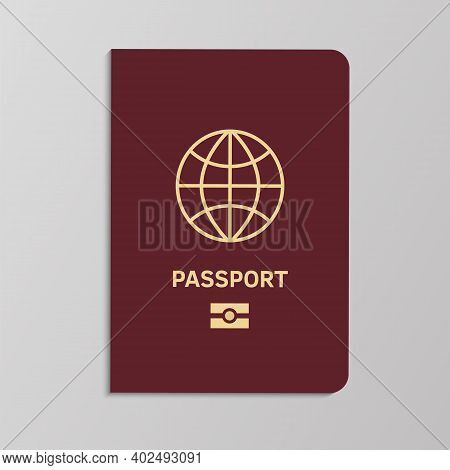 International Biometric Passport Cover Template. Id With Gold Map On Red Background, National Or For