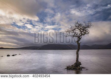Stunning Landscape Image Of Milarrochy Bay On Loch Lomond In Scottish Highlands With Stunning Winter