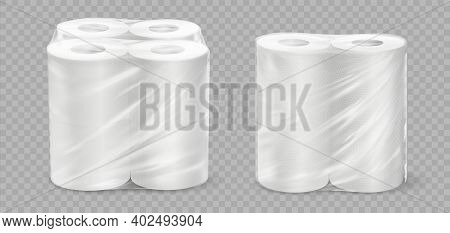 Realistic Paper Towel. 3d Tissue Rolls. White Textured Disposable Toilet Tape On Transparent Backgro