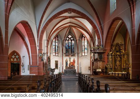 Bernkastel, Germany - June 18, 2020: View Throught The Main Aisle Of The Parish Church Saint Michael