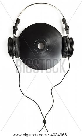 Headphones with black CD on white background