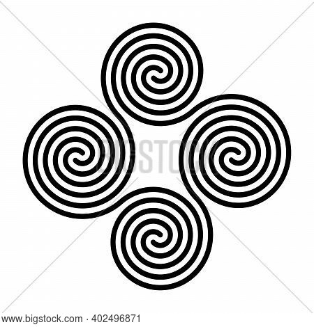 Four Connected Celtic Double Spirals. Quadruple Spiral, Formed By Four Interlocked Archimedean Spira