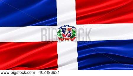 Dominican Republic, Waving Fabric Flag Of Dominican Republic, Silk Flag Of Dominican Republic. 3d Re