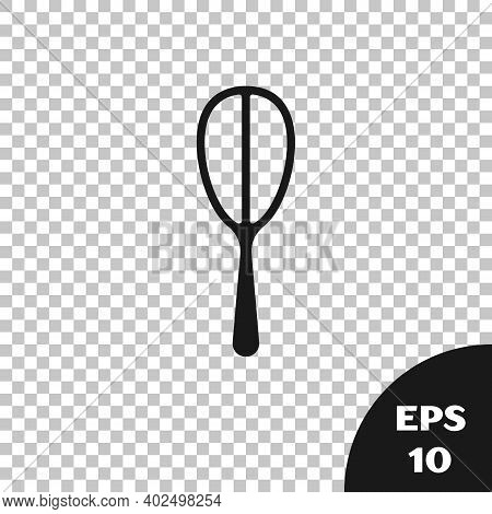 Black Kitchen Whisk Icon Isolated On Transparent Background. Cooking Utensil, Egg Beater. Cutlery Si