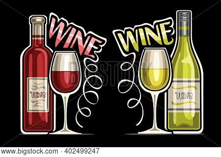 Vector Logos For Red And White Wine, Outline Illustrations Of Classic Wine Bottles With Decorative L
