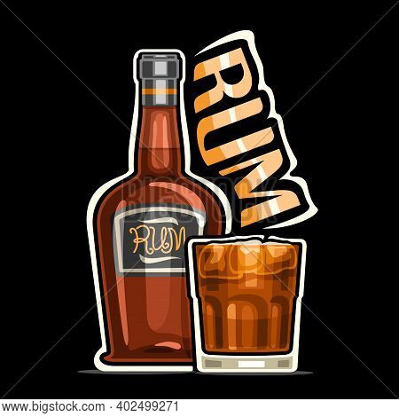 Vector Logo For Rum, Outline Illustration Of Brown Bottle With Decorative Label And Full Glass Of Ru