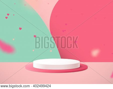 Minimal Podium With Heart Confetti Falling And Abstract Background. Valentines Day. 3d Vector Illust