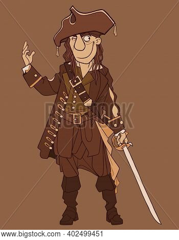 A Cartoon Male Pirate Winks And Smiles Slyly With A Saber In His Hand. In Brown Tones