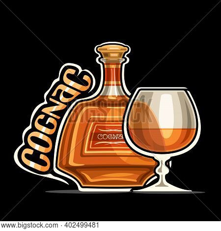 Vector Logo For Cognac, Outline Illustration Of Brown Bottle With Decorative Label And Half Full Sni