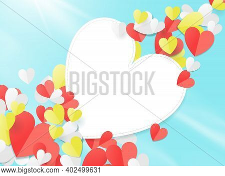 Valentines Day With Paper Elements In The Shape Of A Heart Flying In The Sky. Paper Art Concept. Vec