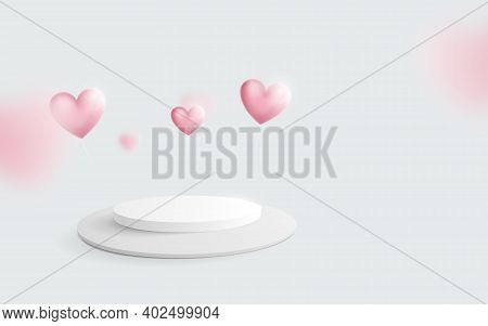 White Podium With Heart Balloons Floating. Valentines Day. 3d Vector Illustration