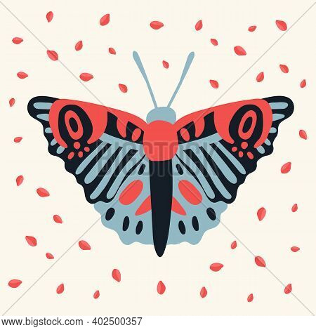 Postcard Of A Moth. Cute Butterfly In The Tropics Of Grass. Poster Hovering, Multicolored, Winged, W