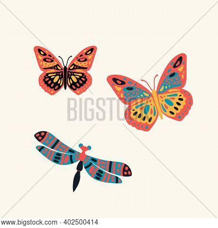 Postcard Dragonfly In The Grass. Cute Butterfly In The Tropics Of The Forest. Poster Hovering, Multi