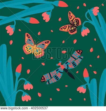 Lots Of Butterflies, Flying Insects. Cute Little Animals In The Tropics Of Grass. Collection Of Soar