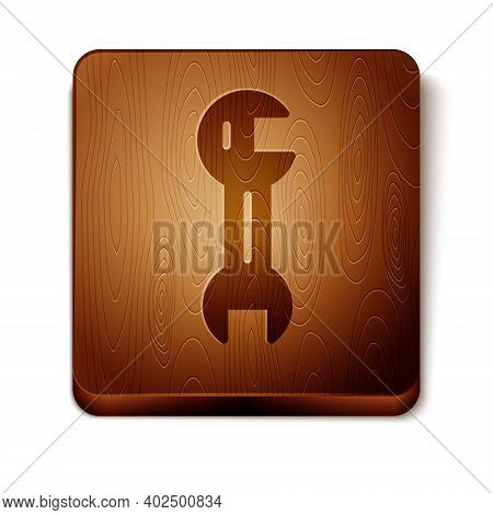 Brown Wrench Spanner Icon Isolated On White Background. Wooden Square Button. Vector