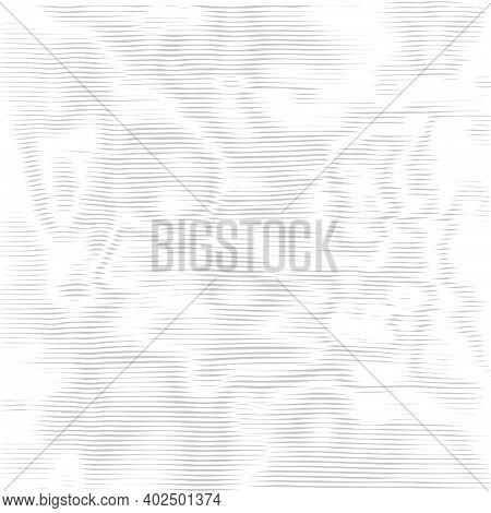 Moire Texture, Monochrome Phantom  Wavy Lines Optical Illusion. Abstract Pattern With Distorted Line