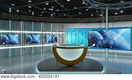 Virtual Tv Studio News Set 3-2. Green Screen Background. 3d Rendering.\nvirtual Set Studio For Chrom