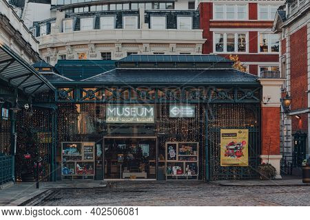 London, Uk - November 19, 2020: Facade Of Closed Outside London Transport Museum, A Worlds Leading M