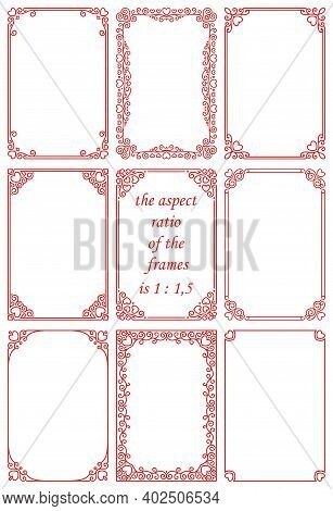 Vector Set Of Rectangular Frames In Vintage Art Deco Style With Red Hearts.beautiful Ornament, Roman