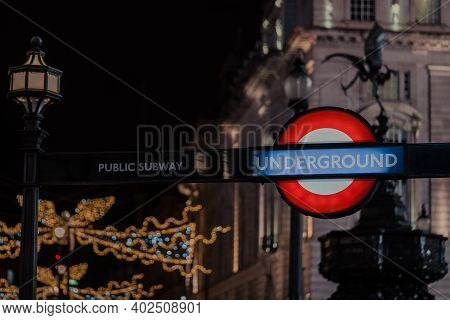 London, Uk - November 19, 2020: London Underground Sign At The Entrance Of Piccadilly Circus Station