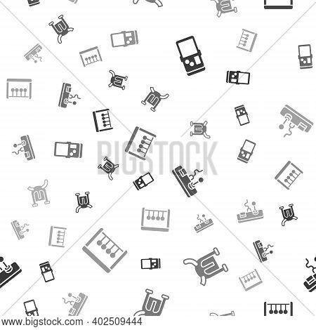 Set Tetris, Viking In Horned Helmet, Gamepad And Pendulum On Seamless Pattern. Vector