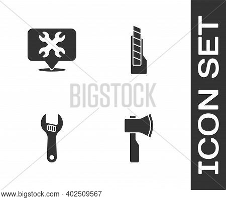 Set Wooden Axe, Location With Wrench, Adjustable And Stationery Knife Icon. Vector